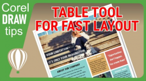 Use the table tool for fast layout in CorelDraw